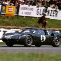 Richard Attwood and David Hobbs race the Lola GT at Le Mans in 1963. Although gearing issues limited the car's top speed, its lightweight chassis, slick aerodynamic shape and powerful Ford engine pointed the way to the future of the Ford GT.