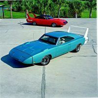 Here you can plainly see the differences between Superbirds and Charger Daytonas. Superbirds have vinyl roofs; Daytonas have wings that include the rear stripe's paint. Mike Mueller
