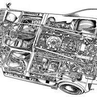The Typ 917/51 engine in Leo Kinnunen's 917-10 Interserie entry, shown in this cutaway drawing, produced 1,000 horsepower at 7,800 rpm from 4,998cc. It developed 730 poundsfeet of torque at 6,400 rpm and gave Kinnunen the Interserie championship in 1972 and 1973. Photo: Porsche Archive