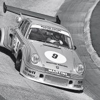 Manfred Schurti and Helmuth Koinigg shared driving duties during the 1,000 Kilometers of Nürburgring on May 19, 1974. The snorkel on the rear wing support captured engine intake. They finished seventh overall. Photo: Porsche Archive