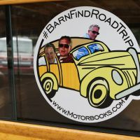 Our publisher had these decals made for the side windows of the Woody, and we had miniature versions of the decals that we gave out to interested people en route.