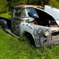 This is the 1956 Dodge ¾-ton pickup that Charles was driving the night he saw his Super Bee parked on the dealer's lot in 1970. Today the truck sits in a field near his house.