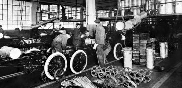 1913: At the Highland Park Plant in 1913, Henry Ford introduced the first moving assembly line for cars. Within 18 months it took only 1.5 man-hours to build a Model T. The modern auto industry was born. Photo: Ford Motor Company