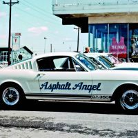 "Back in the day before these were $300,000 cars, some people didn't think twice about naming their GT350s . . . and painting said name on the side as the ""Asphalt Angel"" demonstrates. Photo: SAAC Archives."
