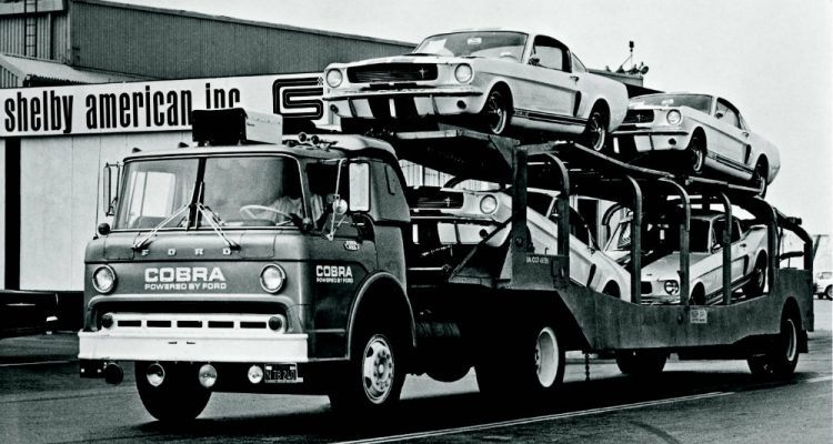 "One of Shelby's press release photos that read ""The first consignment of 1966 Shelby GT350s on their way to a franchised dealer."" As opposed to a guy on a street corner I assume? Photo: Road & Track/Hearst Magazines."