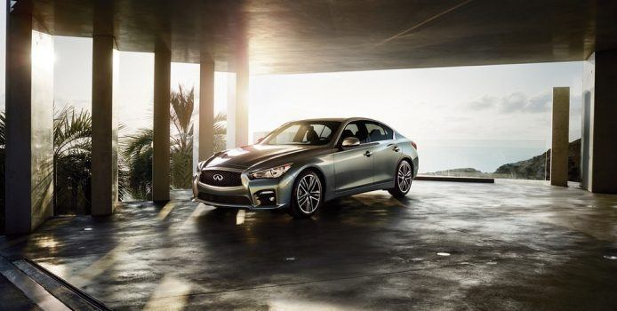 The 2016 Infiniti Q50 3.0t models are equipped with the a 300-horsepower 3.0-liter V6 twin turbo engine. The new Q50 3.0t models complete the 2016 Q50 lineup, which now offers buyers a choice of four powerplants and 12 models.
