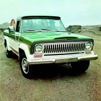 Bottom: This is the 1974 Jeep pickup, wearing handsome two-tone paint. Starting this year Jeep trucks were identified as J-10 (½-ton) and J-20 (¾-ton) models. Within each series, there were various chassis and suspension options. The J-20 offered GVWs up to 8,000 pounds.