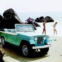 For 1967 Jeep introduced the Jeepster and Jeepster Commando series, which included convertible, roadster, station wagon, and pickup models. Shown here is the top-line Jeepster convertible, along with three very lovely ladies.