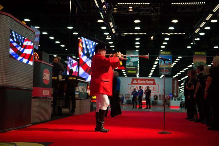 Kentucky Derby's official bugler Steve Buttleman playing the National Anthem. Photo: Maggie Pinke, courtesy of Mecum Auctions.