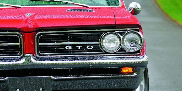 Most 1964 model year Pontiacs had redesigned front ends with stacked headlights, but, for one year only, the Tempest, LeMans, and GTO featured the older style side-by-side lights. Photo: David Newhardt.
