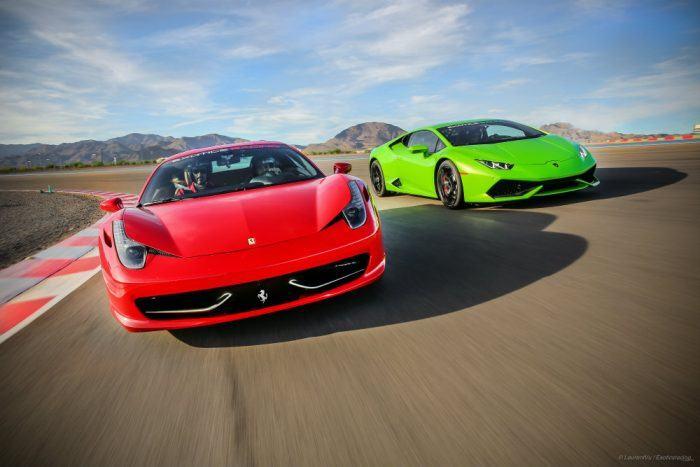 Ferrari Italia 458 and Lamborghini Huracan at Exotics Racing