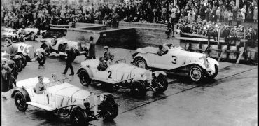 Under Porsche, advancements in engineering and design were swift, and by 1927 the Model S had been fully developed as both a touring car and a race car. At the July 1927 Nürburgring Grand Prix, a pair of the sleek, new supercharged Mercedes were driven by Caracciola and Werner. Photo: Porsche Werkfoto.