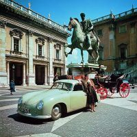 An early Gmünd coupe photographed in Rome in 1950. Photo: Porsche Werkfoto.