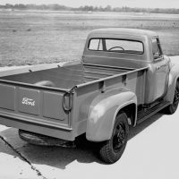In 1953, the F-250 was 2 feet longer than the F-100 and utilized an 8-foot bed. Note the heavier-duty wheels that were attached to a 2,600-pound capacity front axle. The F-250 was built on a 118-inch wheelbase chassis and was available with the 239-cubic-inch flathead V-8. Note the driver's side taillight. The passenger side taillight was an option.