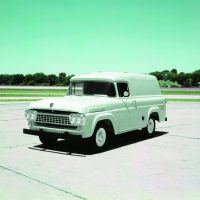 Because fleets were a big part of the market, Ford continued to produce panel trucks in the new F-100 body style.