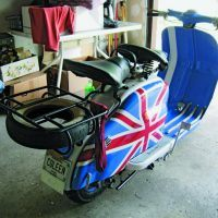 "He restored the scooter in a ""mod"" British motif and presented it to his wife, Colleen, as a surprise. It runs and rides great. Photo: Michael Blackburn."