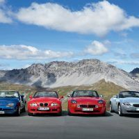 Helping celebrate seventy-five years of BMW roadsters in 2006, from left to right: Z1 (1988), Z3 (1995), Z8 (1999), and Z4 (2002).