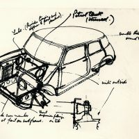 Issigonis's famous table-napkin sketch for the 1959 Mini