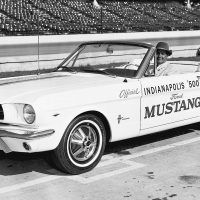 Benson Ford piloted the Mustang pace car around the track at Indianapolis during the start of the 48th running of the annual 500-mile spectacular on May 30, 1964. Photo: Ford Motor Company.