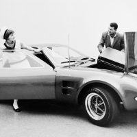 The mid-engine, two-seat Mach 2, which debuted at the 1967 Chicago auto show, relied on various stock Mustang components. Designed by Gene Bordinat and built by Roy Lunn's team, this sporty machine was created under order of Donald Frey as a possible replacement for Carroll Shelby's 427 Cobra. Photo: Ford Motor Company.