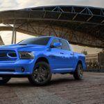 2018 Ram 1500 Hydro Blue Sport front three quarter view