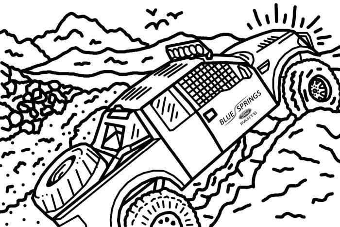 Coloring Page Truck With Flames