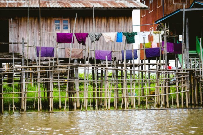 traditional wooden houses on inle lake with PBXY8JZ