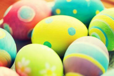 close up of colored easter eggs P9ZRET5