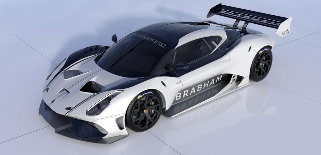 BRABHAM BT62 Front Qtr View White Navy