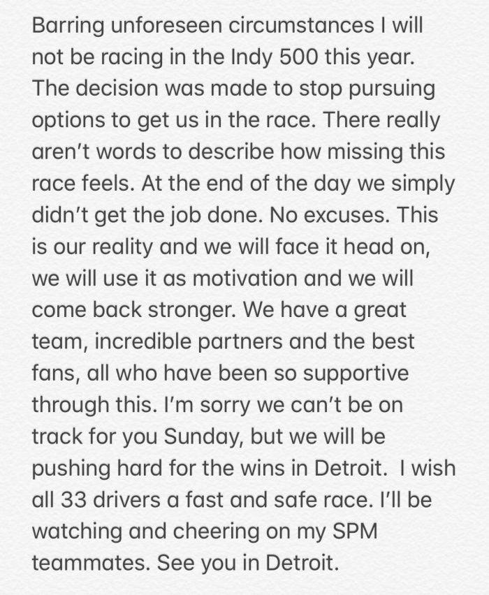 James Hinchcliffe Statement