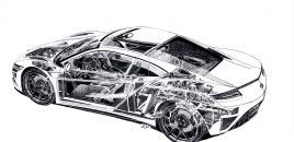 Famed Automotive Artist Draws Beautiful Acura NSX Cutaway