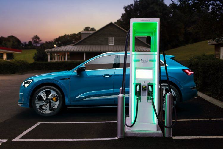 Large Audi e tron charging infrastructure