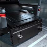 K. Rivian R1T Tailgate 180 Open Steps Out