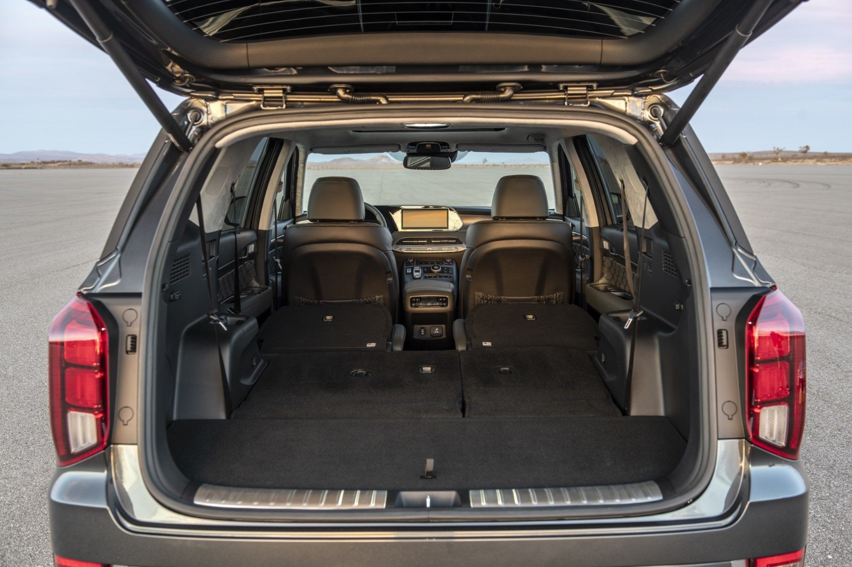 2020 Hyundai Palisade rear cargo area with all seats folded down.