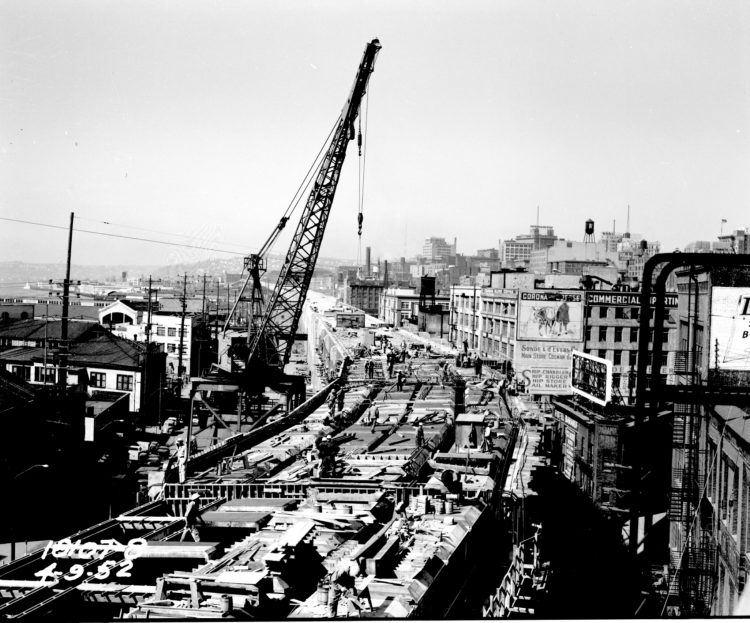 Alaskan Way Viaduct under construction 1952