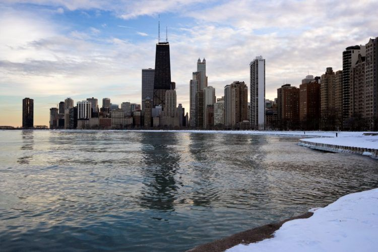 winter in downtown chicago P8558BU 1