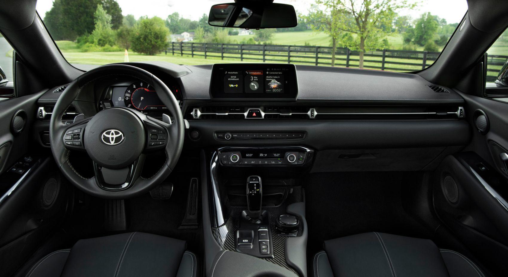 2020 Toyota Supra interior layout.