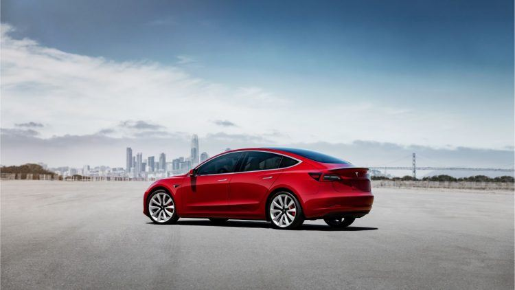 Model 3 Performance Red Static Rear