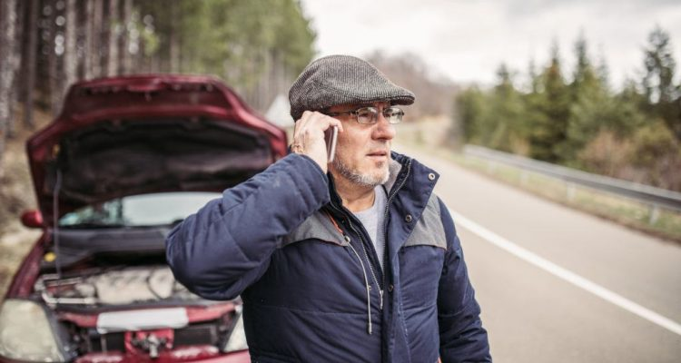 Man calling for help because car broken down