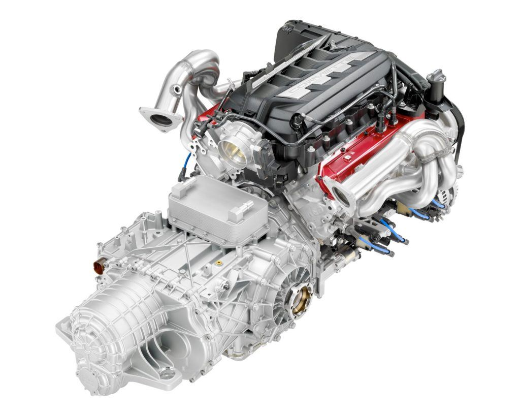 The 6.2-liter LT2 Small Block V8 in the 2020 Chevy Corvette Stingray.