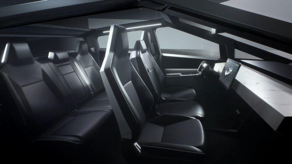 Tesla Cybertruck interior layout.