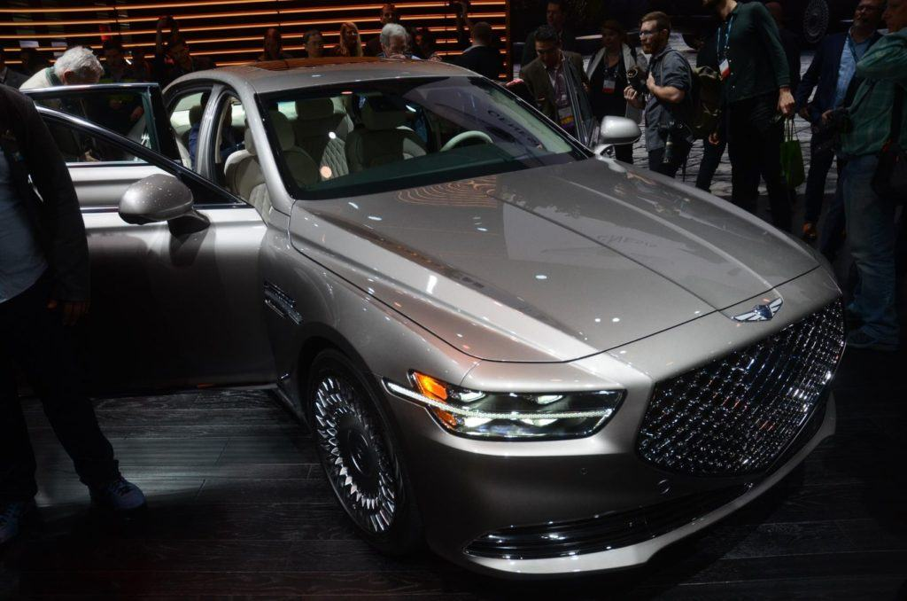 2020 Genesis G90 on display at the 2019 Los Angeles Auto Show.