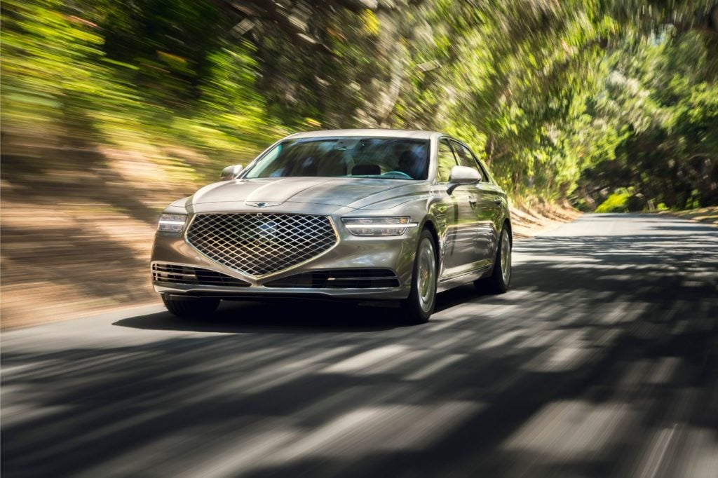 2020 Genesis G90 on the open road.