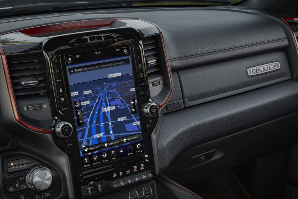 2019 Ram 1500 Rebel 12 with Uconnect 4C NAV and 12-inch touchscreen.