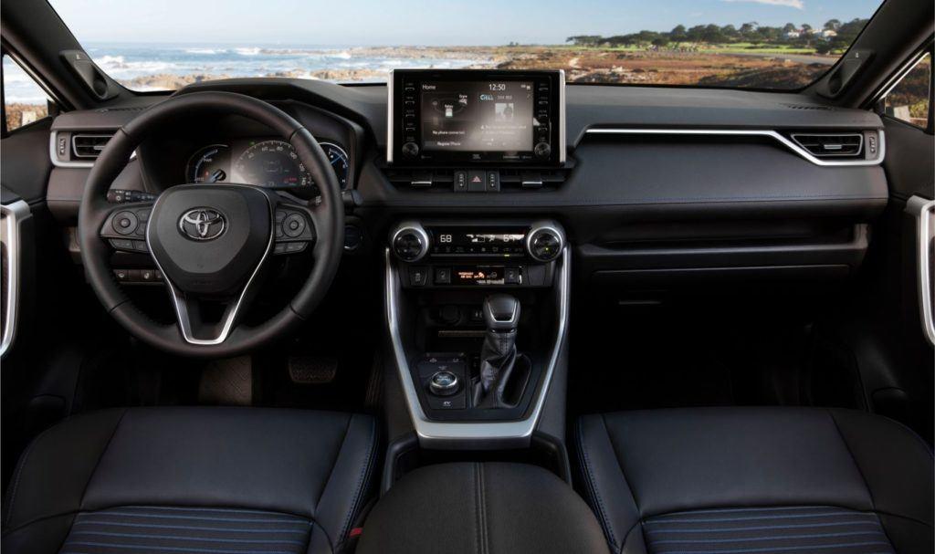 2020 Toyota RAV4 Hybrid interior layout.