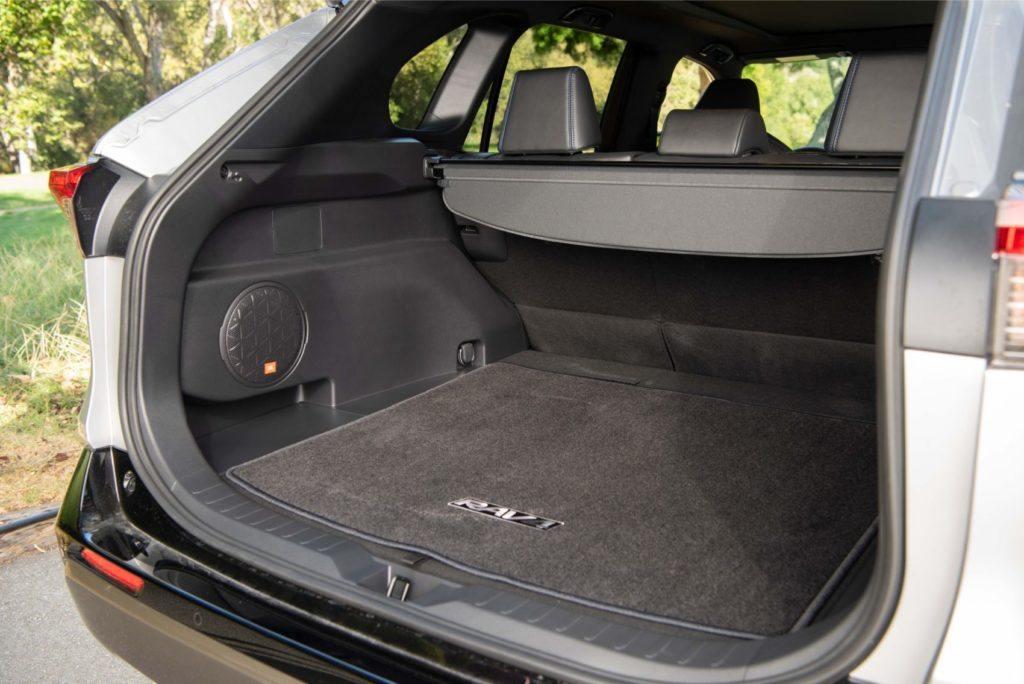 2020 Toyota RAV4 Hybrid rear cargo area.