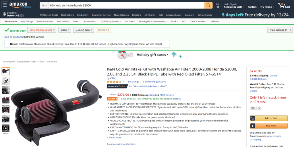 K&N Cold Air Intake on Amazon December 2019.