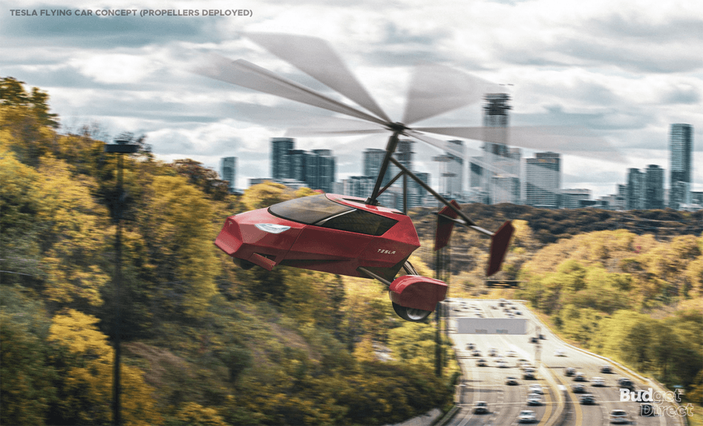 Tesla flying car concept extended blades