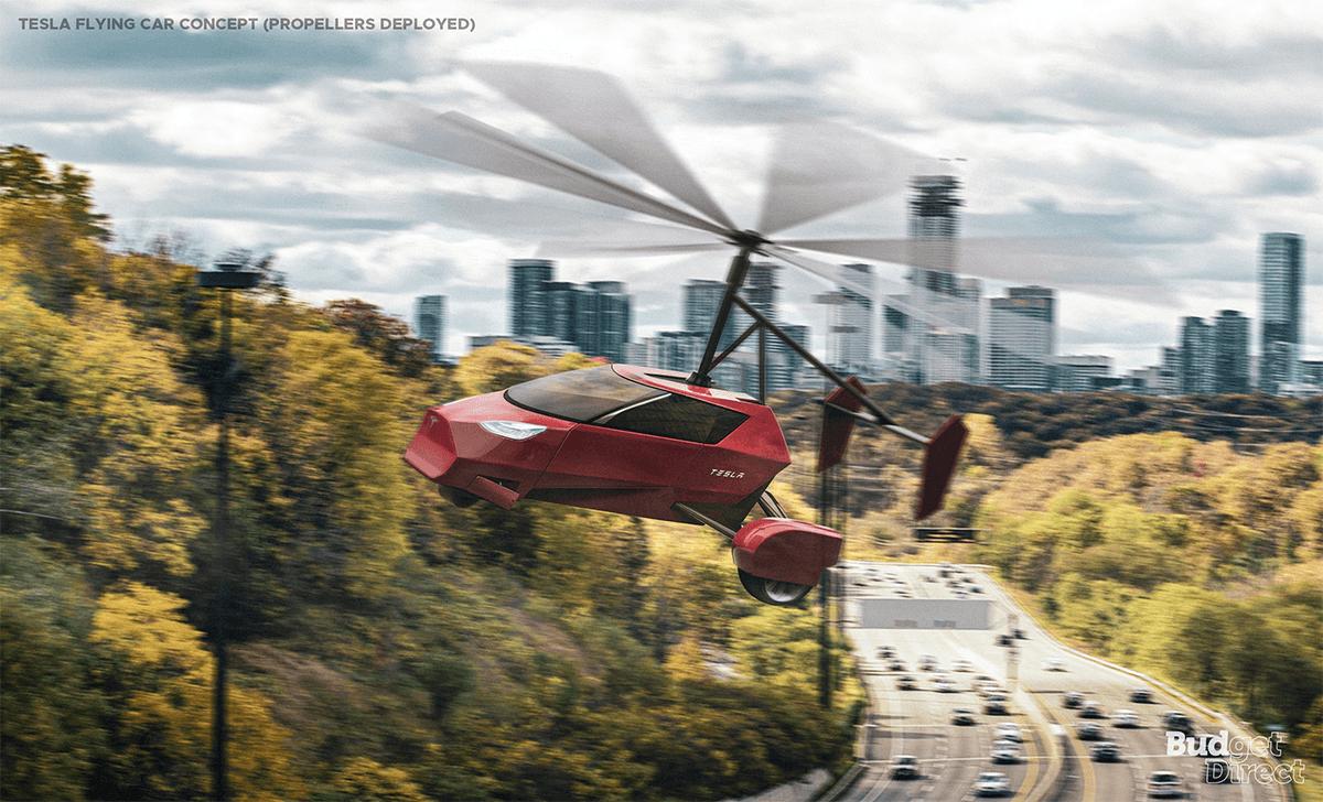 Tesla flying car concept extended blades