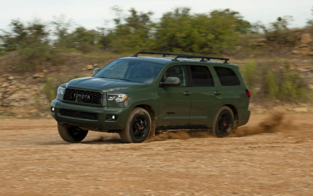 2020 Toyota Sequoia TRD Pro in Army Green.